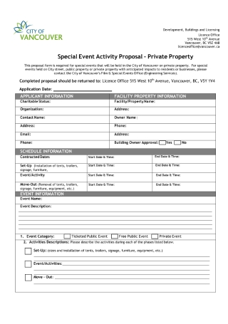 Special Event Activity Proposal