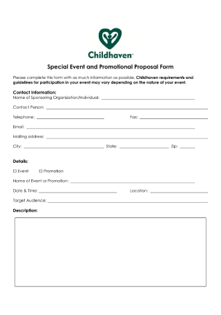 Special Event and Promotional Proposal Form