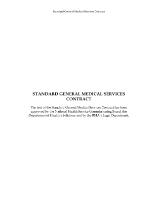 Standard General Medical Services Contract