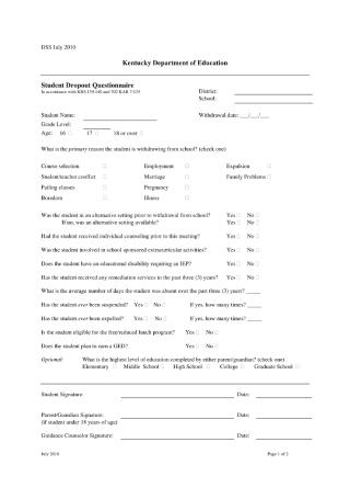 Student Dropout Questionnaire