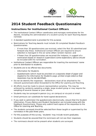 Student Feedback Questionnaire