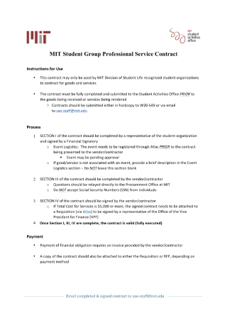 Student Group Professional Service Contract