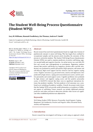 Student Well Being Process Questionnaire
