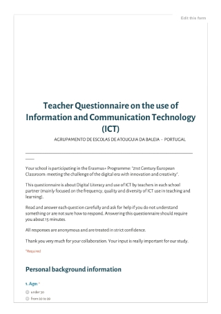 Teacher Questionnaire on the Use of ICT