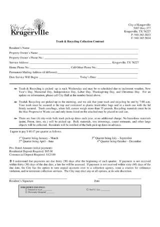 Trash and Recycling Collection Contract