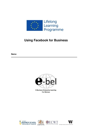 Using Facebook for Business Workbook