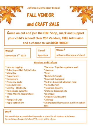 Vendor and Craft Sale Flyer