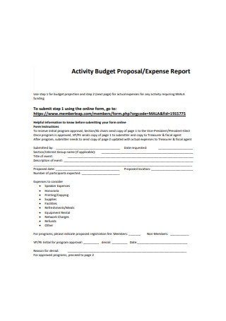 Activity Budget Proposal Sample
