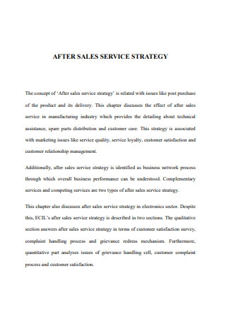 After Sales Service Strategies