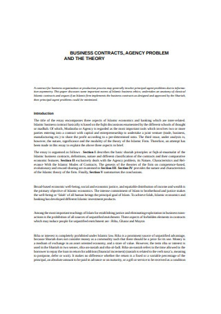 Agency Business Contract
