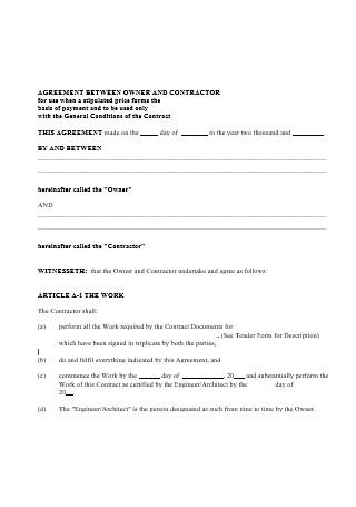 Agreement Between Owner and Contractor