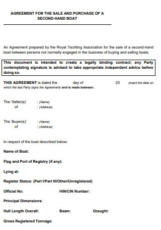 Agreement for the Sale and Purchase of a Second Hand Boat