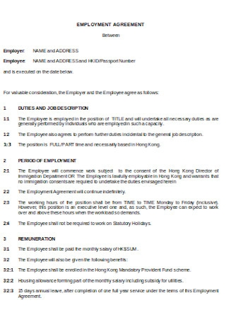 Agreement of Employment Format