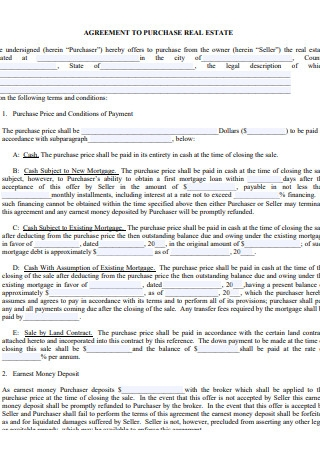 Agreement to Purchase Real Estate