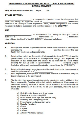Agreements for Providing Architectural and Engineering