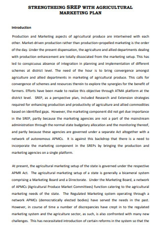 Agricultural Marketing Plan Sample