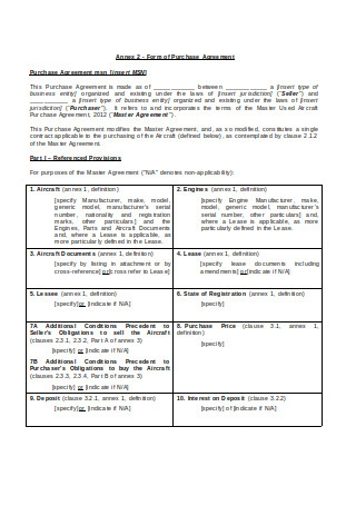 Aircraft Purchase Agreement in DOC