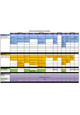 Annual Marketing Plan Calendar