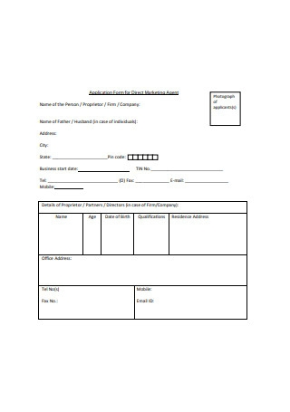Application Form for Direct Marketing Agent Sample