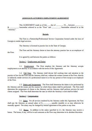 Associate Attorney Employment Agreement
