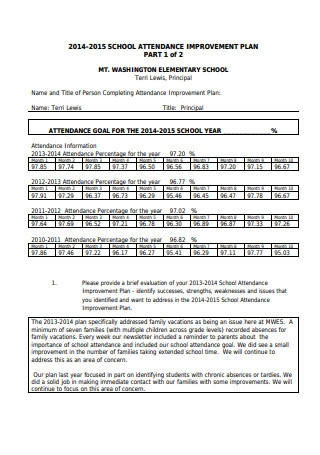 Attendance Improvement Plan Sample