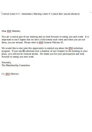 Attendance Warning Letter