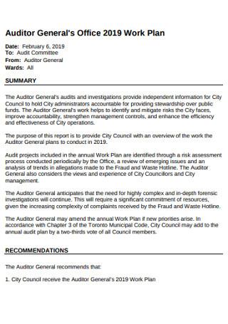 Auditor Generals Office Work Plan