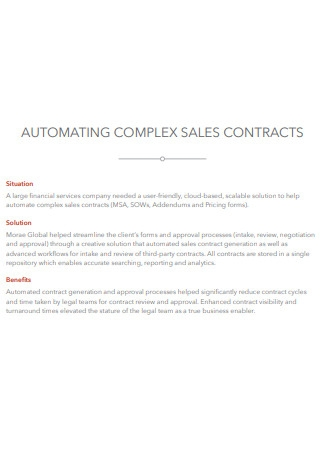Automating Complex Sales Contract