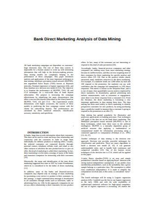 Bank Direct Marketing Analysis of Data Mining