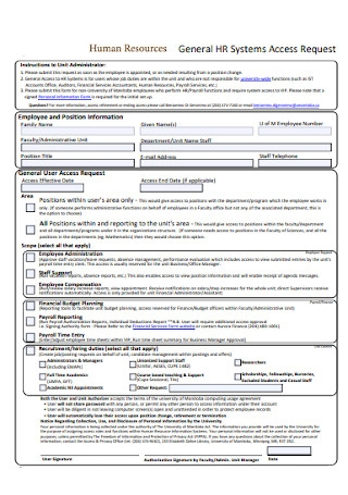 Basic HR Access Request Form