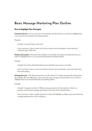 Basic Massage Marketing Plan Outline