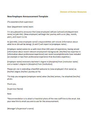 Basic New Employee Cover Letter