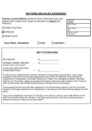 Bid Form and Sales Agreement