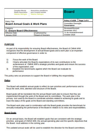 Board Annual Goals and Work Plan