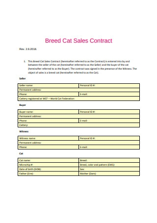 Breed Cat Sales Contract Sample