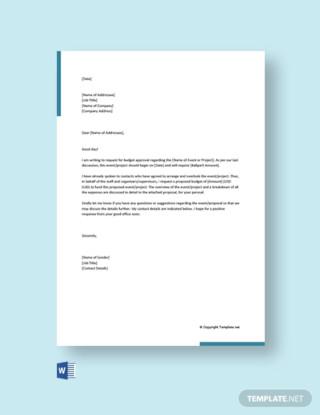 Budget Proposal Request Letter