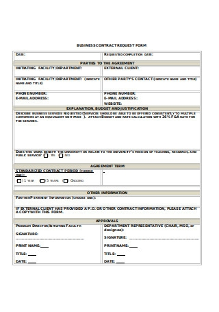 Business Contract Request Form