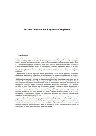 Business Contracts and Regulatory Compliance