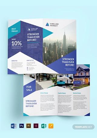 Business Landscape Bifold Brochure Template