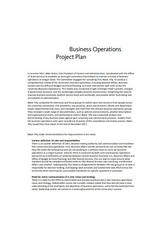 Business Operations Project Plan
