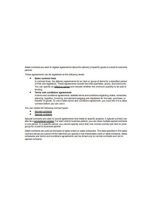 Business Sales Contract Sample