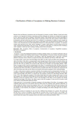 Clarification of Rules of Acceptance in Making Business Contracts