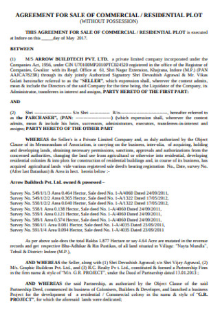 Commercial Plot Sale Agreement