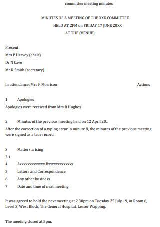 Committee Meeting Minutes Sample