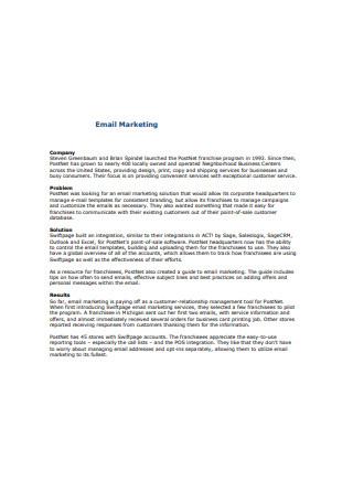 Company Email Marketing Sample