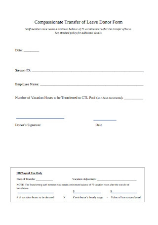 Compassionate Transfer of Leave Donor Form