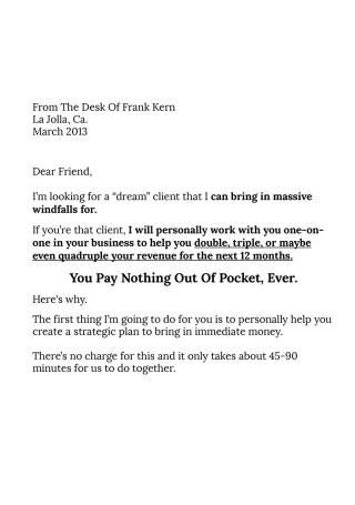 Consulting Sales Letter
