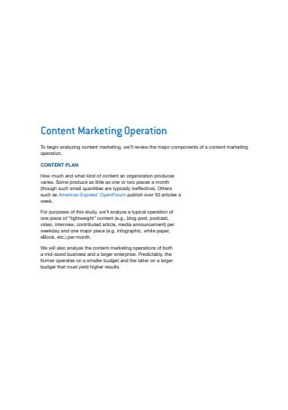Content Marketing Operation Sample