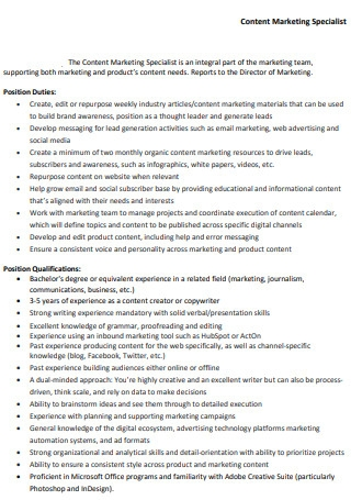 Content Marketing Specialist Sample