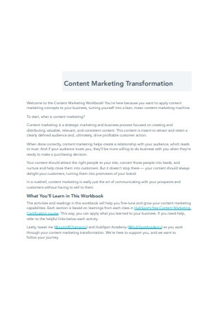 Content Marketing Transformation Sample